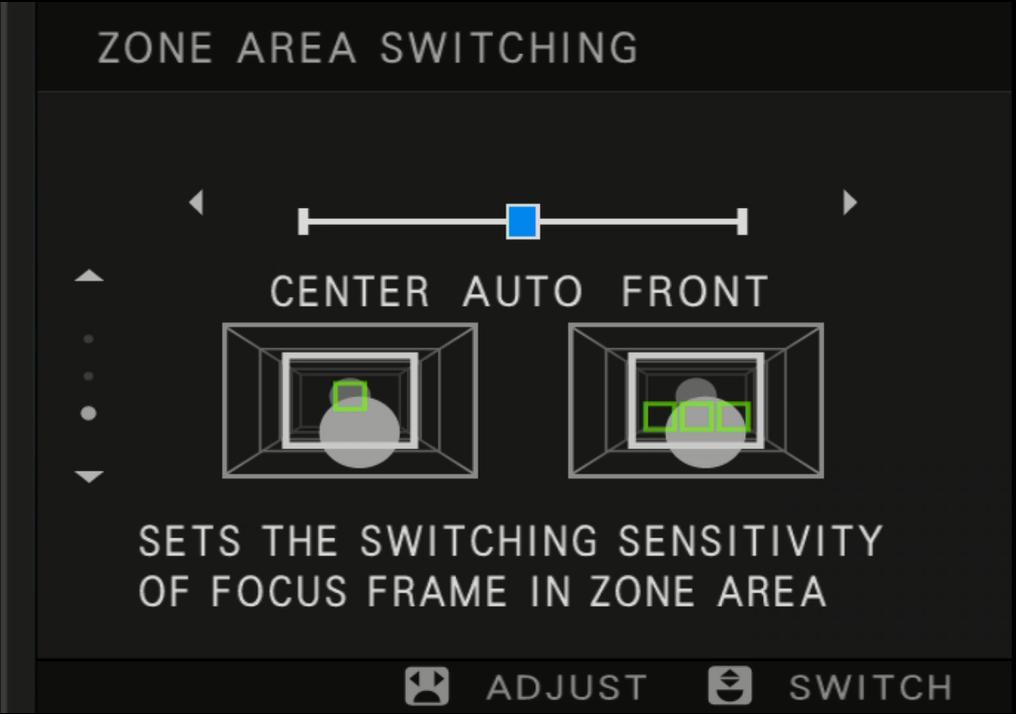 Ekran ustawień przełączania obszaru strefy
